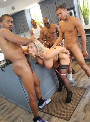 Blonde milf gang bang